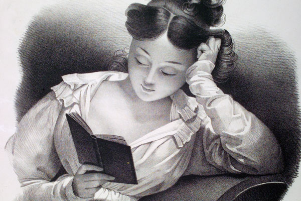Drawing of a girl dressed in Victorian clothes relaxing and reading a book