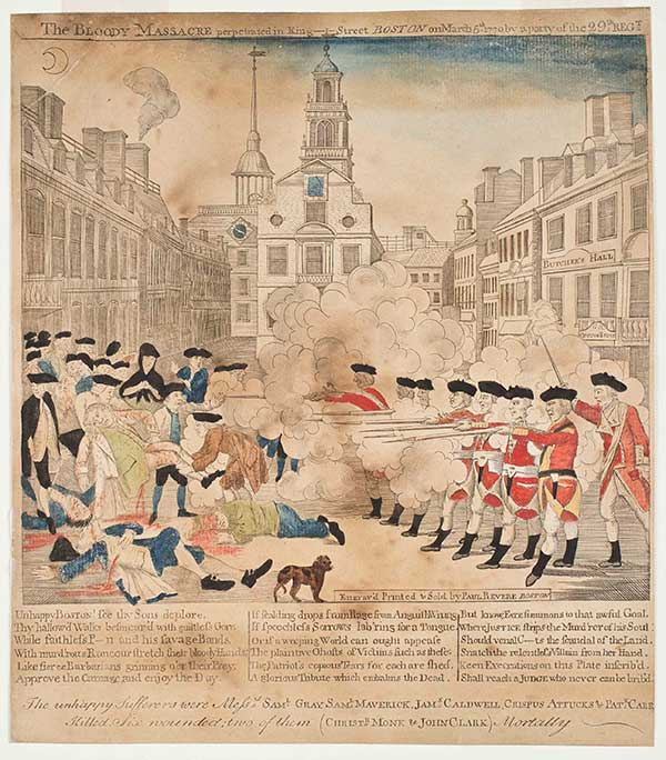 Paul Revere, 'The Bloody Massacre Perpetuated in King-Street Boston on March 5th 1770', Boston, 1770, engraving with hand coloring