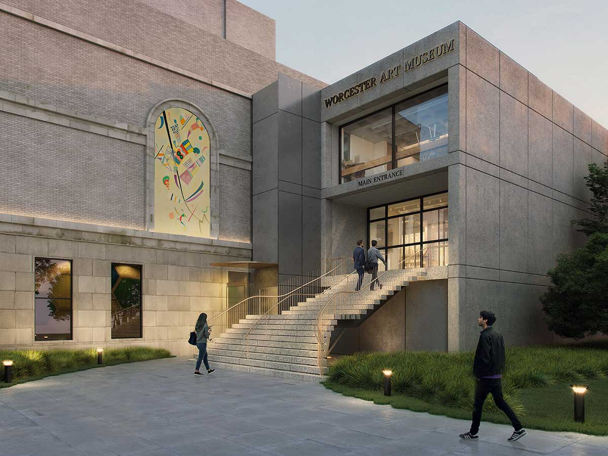 A 3D rendering of WAM's Lancaster Plaza Entrance, showing steps and elevator