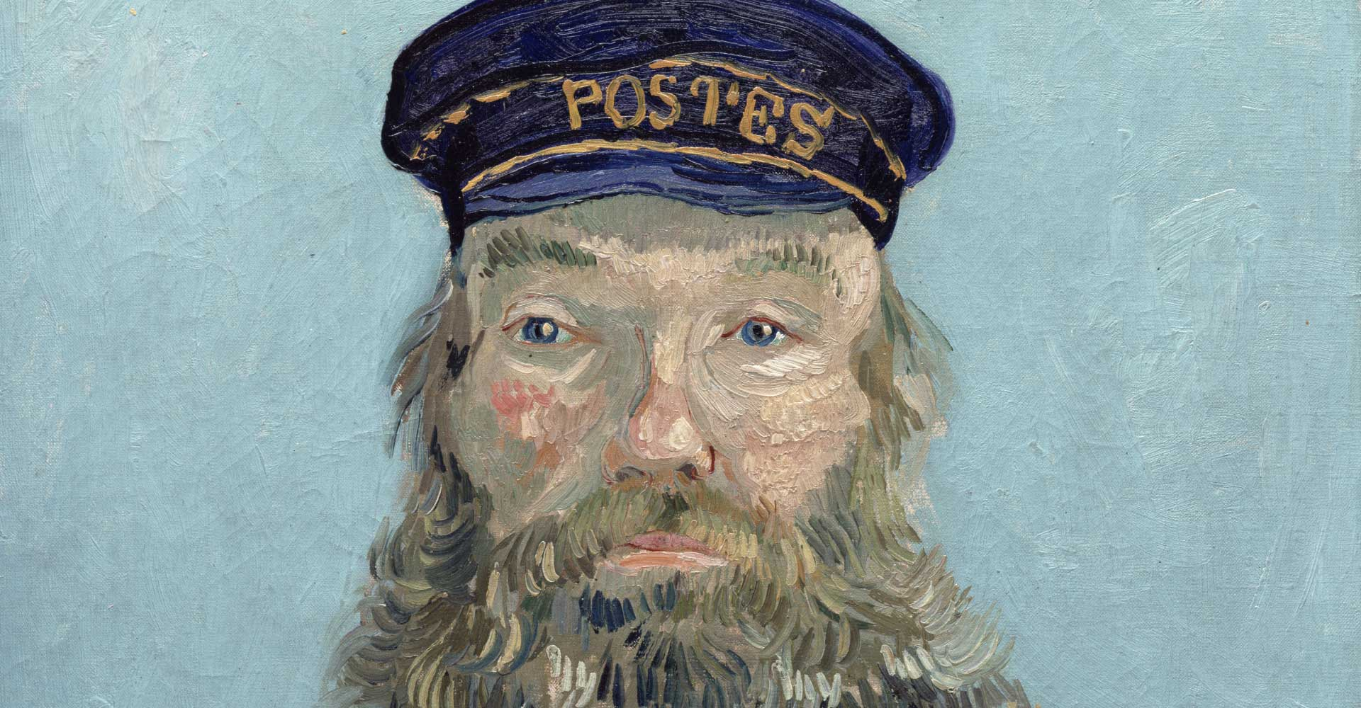 "Detail of ""Portrait of Postman Roulin"" by Vincent van Gogh"