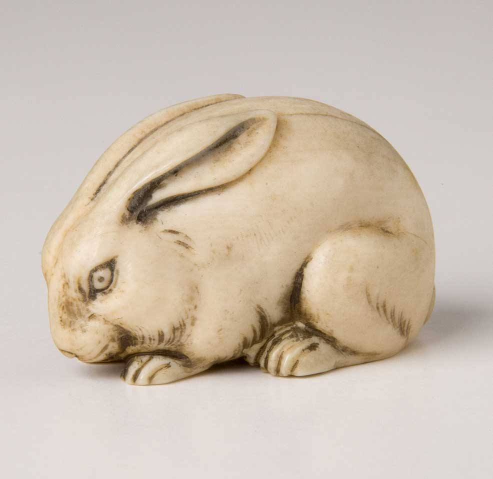Netsuke in the Shape of a Rabbit, Japan, late 19th century, ivory
