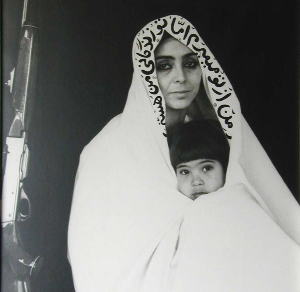 Shirin Neshat, My Beloved, 1999, black and white resin-coated print and ink